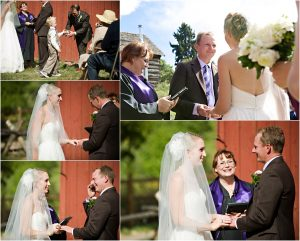 outdoor ceremony in front of rustic red barn at clear creek history park, golden colorado, wedding photographer, colorado wedding planner