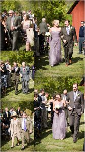 recessional, wedding party,wedding guests, outdoor ceremony in front of rustic red barn at clear creek history park, golden colorado, wedding photographer, colorado wedding planner