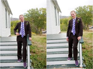 groom portraits on stairs of old schoolhouse,clear creek history park, golden colorado, wedding photographer, colorado wedding planner