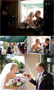 bride and groom at golden city brewery, colorado wedding planner, mountain wedding photographer, fun couples portraits