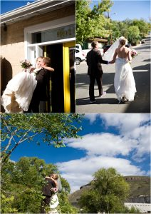 bride and groom at golden city brewery, colorado wedding planner, mountain wedding photographer, fun couples portraits, walking down street in golden