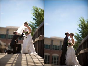 bride and groom portraits on bridge, colorado wedding planner, mountain wedding photographer, golden colorado weddings