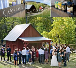 cocktail hour, rustic red barn in clear creek history park, golden colorado, outdoor lawn games, outdoor bar, mountain wedding photographer, colorado wedding planning