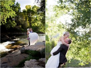 bride and groom portrait along clear creek in golden, river, groom lifting up bride, colorado wedding planner, mountain wedding photographer