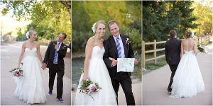 bride and groom walking along path next to clear creek in golden on the way to reception, colorado wedding photography, mountain wedding planner