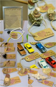 reception details and decor, miniature cars, place card tags, golden community center wedding venue, colorado wedding design and planning, colorado wedding photographer, event decor