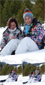 winter snowboarding proposal, beaver run resort, surprise proposal, colorado photographer, proposal photography, mountain wedding photographer, summit county, sitting in the snow