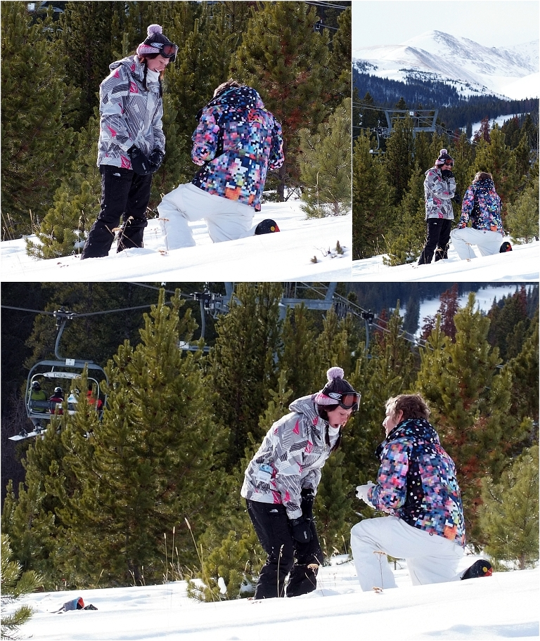 she said yes, down on one knee, will you marry me, winter snowboarding proposal, beaver run resort, surprise proposal, colorado photographer, proposal photography, mountain wedding photographer, summit county