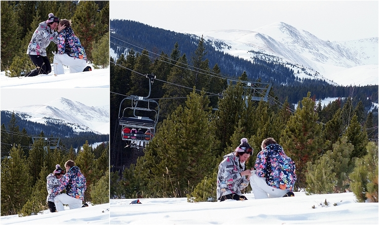 winter snowboarding proposal, beaver run resort, surprise proposal, colorado photographer, proposal photography, mountain wedding photographer, summit county