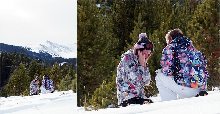 look of shock, she said yes,winter snowboarding proposal, beaver run resort, surprise proposal, colorado photographer, proposal photography, mountain wedding photographer, summit county