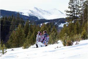 couple in the snow,winter snowboarding proposal, beaver run resort, surprise proposal, colorado photographer, proposal photography, mountain wedding photographer, summit county