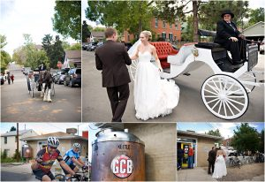 bride and groom leaving ceremony, horse and carriage,golden city brewery, colorado wedding photographer