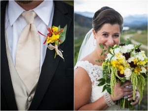 bride and groom details, yellow and red boutonniere, yellow red and white bridal bouquet,C Lazy U Ranch, Granby, Colorado, Rustic Ranch Wedding, Colorado Wedding Planner, Mountain Wedding Photographer