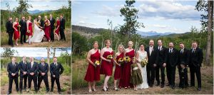 wedding party portraits, bridal party, red bridesmaids gowns, groomsmen photos,C Lazy U Ranch, Granby, Colorado, Rustic Ranch Wedding, Colorado Wedding Planner, Mountain Wedding Photographer