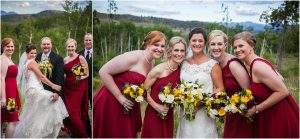 C Lazy U Ranch, Granby, Colorado, Rustic Ranch Wedding, Colorado Wedding Planner, Mountain Wedding Photographer, bride and bridesmaids, red bridesmaids dresses, bridal party portraits, yellow red and white bouquets