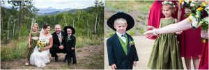 bride and groom with ring bearer, wedding party portraits,C Lazy U Ranch, Granby, Colorado, Rustic Ranch Wedding, Colorado Wedding Planner, Mountain Wedding Photographer
