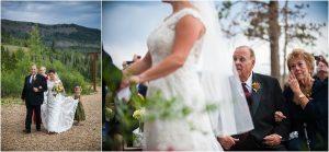 bride walking down the aisle, processional, outdoor mountain ceremony, C Lazy U Ranch, Granby, Colorado, Rustic Ranch Wedding, Colorado Wedding Planner, Mountain Wedding Photographer