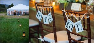reception details, tented reception, mrs and mr signs on chairs,C Lazy U Ranch, Granby, Colorado, Rustic Ranch Wedding, Colorado Wedding Planner, Mountain Wedding Photographer