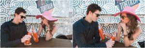 modern tortilla, orange fanta, pink floppy hat, couple together,hotel valley ho, scottsdale, arizona, styled shoot, engagement session, food trucks, wedding weekend, pool party, phoenix wedding planner, event design