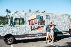 modern tortilla food truck, couples portraits, pink floppy hat, sunny day,hotel valley ho, scottsdale, arizona, styled shoot, engagement session, food trucks, wedding weekend, pool party, phoenix wedding planner, event design