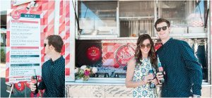 couple in front of aioli gourmet burgers catering food truck, floral decor,hotel valley ho, scottsdale, arizona, styled shoot, engagement session, food trucks, wedding weekend, pool party, phoenix wedding planner, event design