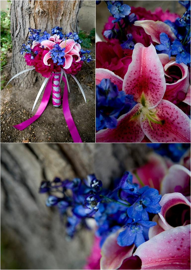 floral details, bridal bouquet, colorado wedding photographer, pink and blue flowers, blue iris, pink hibiscus, fuchsia ribbon