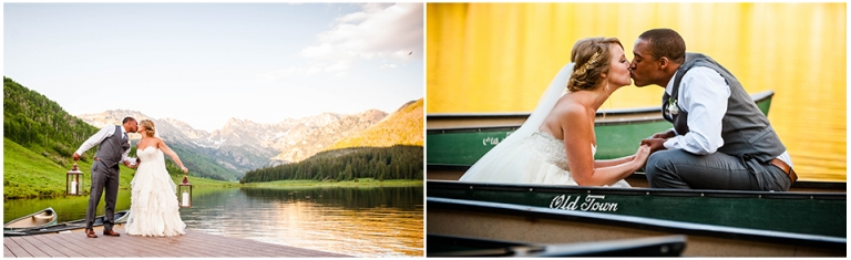 piney river ranch, couple kissing, canoe, mountain backdrop, vail