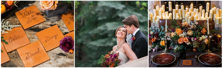 intimate wedding in Vail, couple smiling, autumn colored event