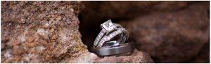 wedding rings on rocks, red rocks with wedding rings