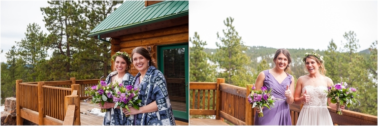 bride and maid of honor, tihsreed lodge, florissant colorado mountain wedding photography, intimate rustic wedding planner, destination weddings