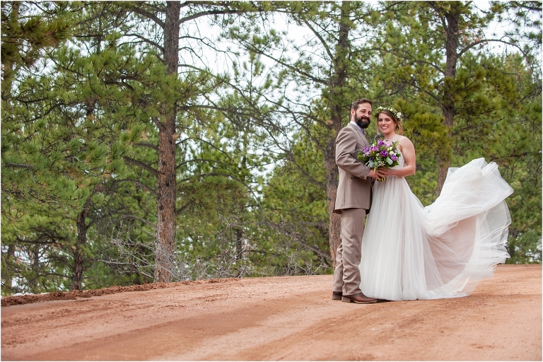 bride and groom portrait at tihsreed lodge, florissant colorado mountain wedding planning, intimate rustic wedding photography