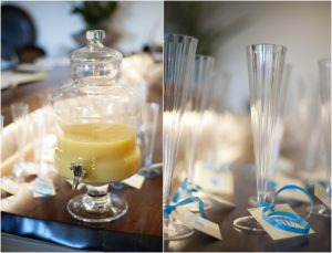 mimosas, champagne flutes, yellow, blue, baby shower