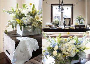 blue, yellow, white floral arrangements, elephant onesie, baby shower, hydrangea, billy balls, lily, spray roses