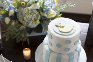 duck, polka dot, cake, blue and yeloow, baby shower, fondant cake