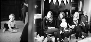 baby shower, party guests, little boy, black + white