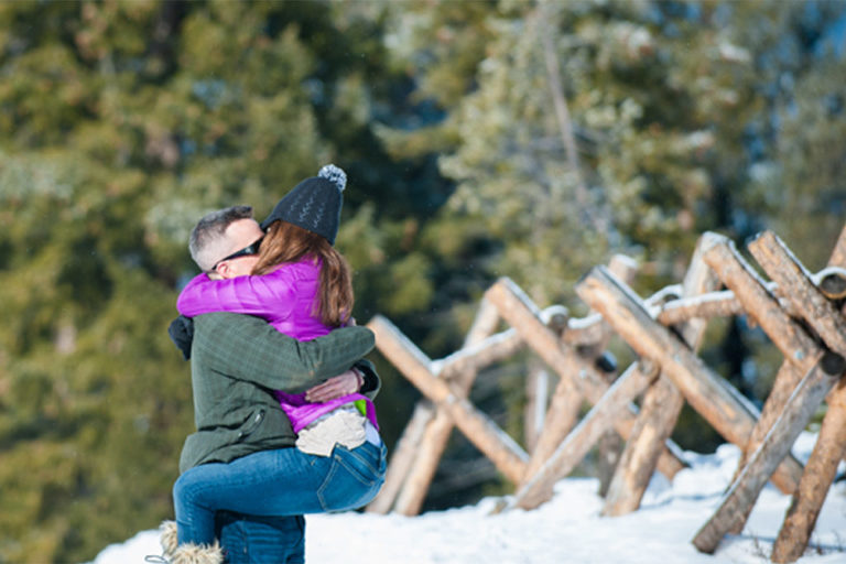 sapphire point, winter engagement, fun couple