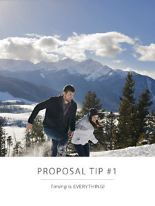 engaged couple playing in the snow at Sapphire Point